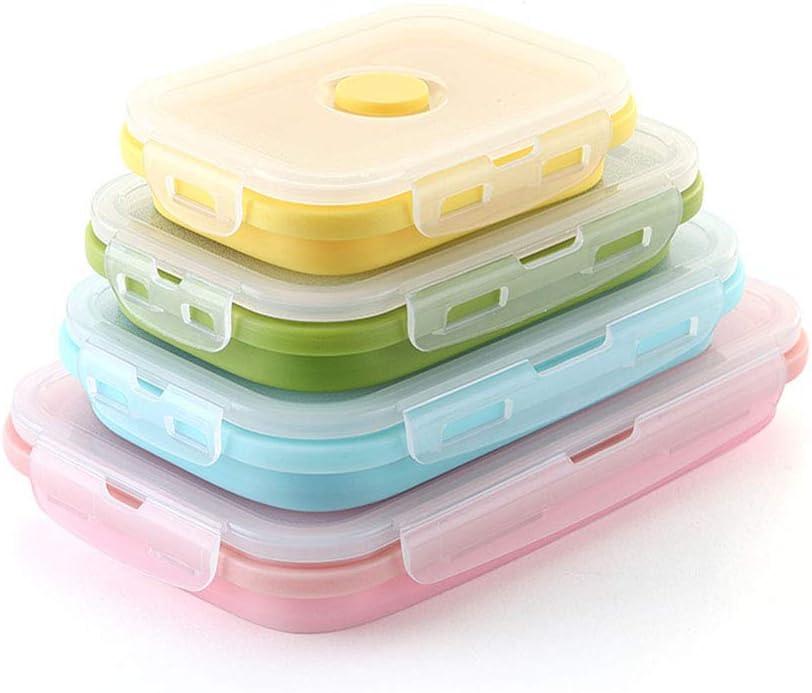 Zengqhui Lonchera Box Lunch 4 Color Configurar el Almuerzo Plegable Caja Plegable de Silicona de microondas Almuerzo Caja portátil de plástico Adultos envase de alimento Compartimiento: Amazon.es: Hogar