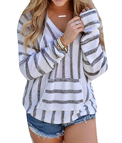 - KLJR Women's Casual V-Neck Striped Long Sleeve Hooded Pullover Knitted Sweater Grey US L