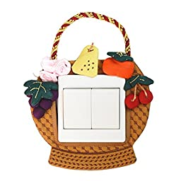 Fruit Basket Light Switch Stickers Pink Colors Covers Handmade Dustproof Home Decor Decals Size 3.34 inch