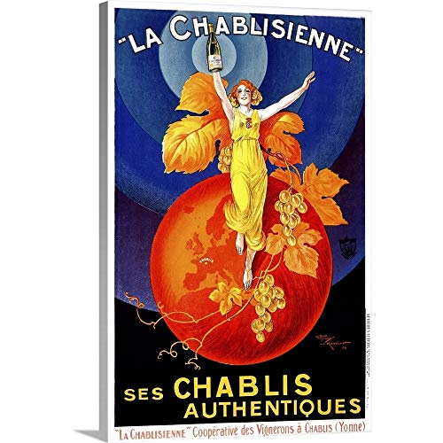 Chablisienne Chablis Wine Vintage Advertising Poster Canvas Wall Art Print, 12 x18 x1.25