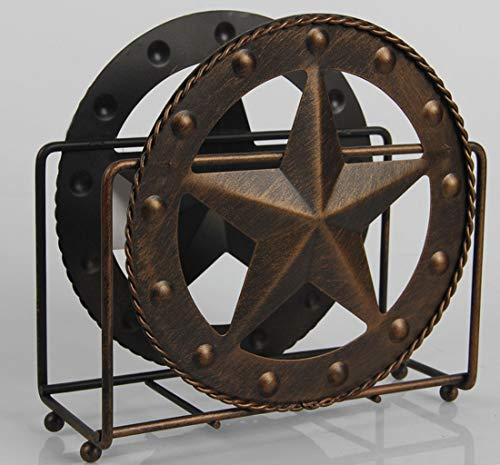 Texas Towel Paper Holder Rustic Barn Vintage Crafts Tabletop Napkin Caddy Paper Holder Home Basics Scroll Collection, Dark Brown Metal Decor for Kitchen Countertops, Dinner Tables, Picnic Tables
