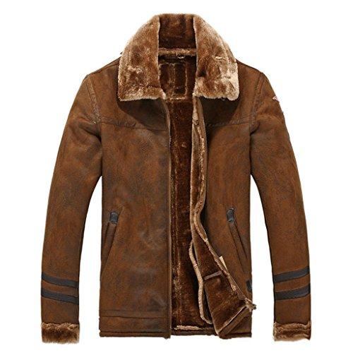 Suede Jacket Bomber - Fluorodine Men's Flannel Lined Suede Bomber Jacket Brown M
