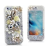 iPhone 6S Plus Bling Case - Fairy Art Luxury 3D Sparkle Series Butterfly Pearl Flowers Crystal Design Front & Back Snap-on Hard Cover with Soft Wallet Purse Red Cloth Pouch - White