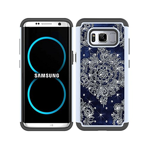 S8 Plus Case, S8+ Case, MagicSky [Shock Absorption] Studded Rhinestone Bling Hybrid Dual Layer Armor Defender Protective Case Cover For Samsung Galaxy S8 Plus / S8+ / S8 Edge (Flower1)