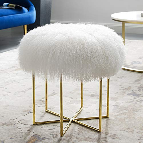 MEXIYA Bailey White Real Sheepskin Mongolian Fur Ottoman with Gold Finish Stainless Steel Frame (Bailey Stool)