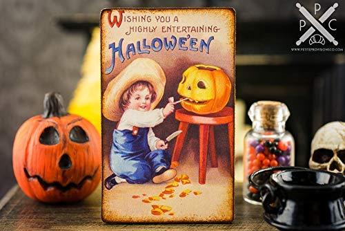 Iliogine Home Plaque Sign Gift Plaque Miniature Vintage Halloween Pumpkin Carving Sign Decorative Halloween Sign Wooden Sign for Living Room Decorative]()