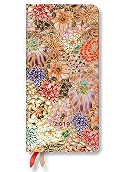 Paperblanks Agenda 2019 con marcapáginas. & Bolsillo Interior | Kikka | Semana para Semana (Horizontal) | Slim (180 x 90 mm)
