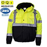 New York Hi-Viz Workwear WJ9012-XL Men's ANSI Class 3 High Visibility Bomber Safety Jacket, Waterproof (Extra Large, Lime)