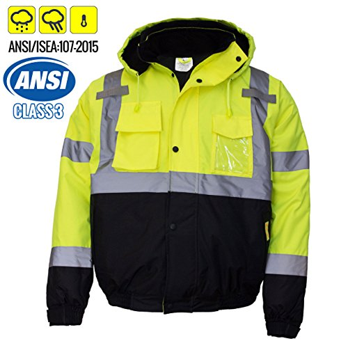 New York Hi-Viz Workwear WJ9012-4XL Men's ANSI Class 3 High Visibility Bomber Safety Jacket, Waterproof (4XL, Lime)