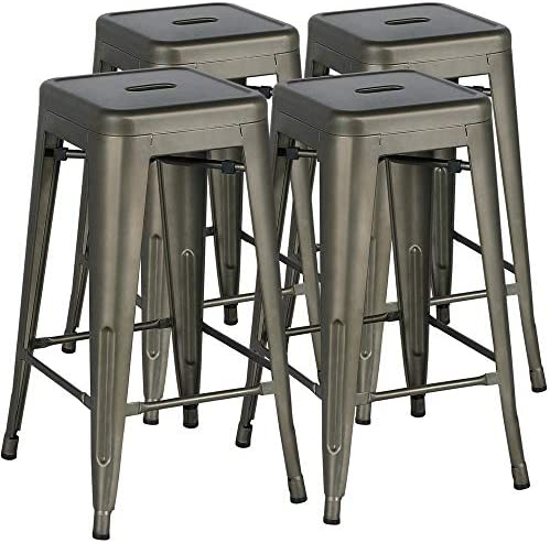 Yaheetech Bar Stools 30 inches Metal Chairs Set of 4 Metal Barstool Blackless Indoor Outdoor Tolix Style,Gun Metal