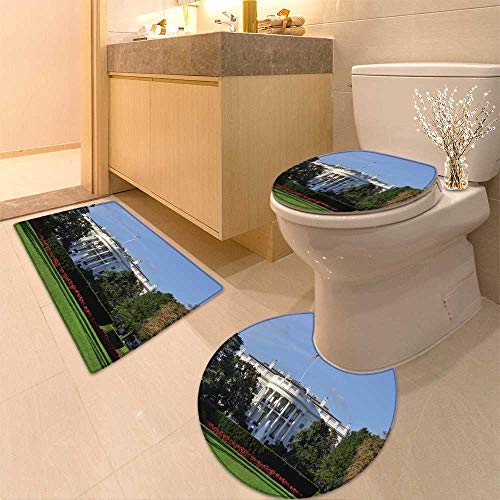 HuaWuhome 3 Piece Bathroom Rug Set The White House Washington DC United States Customized -