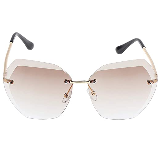 8ca5a9720b Fityle Rimless Sunglasses for Women Vintage Oversized Gradient Lens Eyewear  - Gold+Brown