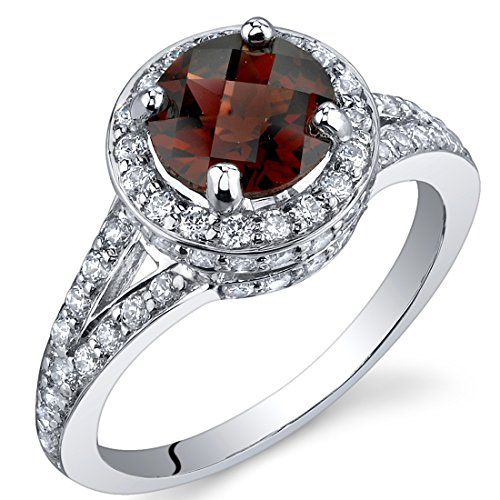 Majestic Sensation 1.50 Carats Garnet Ring in Sterling Silver Rhodium Nickel Finish Size 5