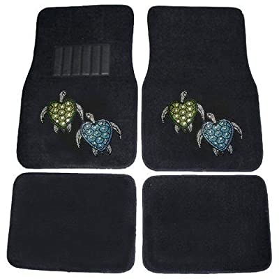 CarsCover Blue & Green Turtles Crystal Diamond Bling Rhinestone Studded Carpet Car SUV Truck Floor Mats 4 PCS: Automotive