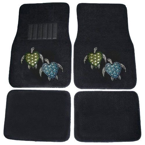 CarsCover Blue & Green Turtles Crystal Diamond Bling Rhinestone Studded Carpet Car SUV Truck Floor Mats 4 PCS (Accessories Turtle Car)