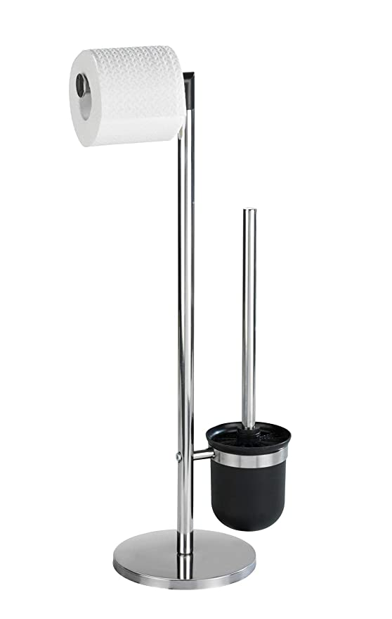 Wenko Parus Portarrollos con Escobillero, Acero Inoxidable, Plata Brillante, 16.5x25.5x57 cm