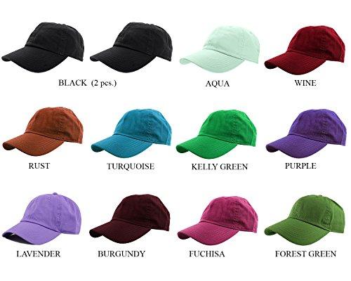 Assorted Hats - Gelante Baseball Caps 100% Cotton Plain Blank Adjustable Size Wholesale LOT 12 Pack (Assorted #3)