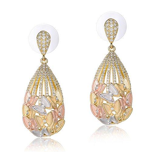 Mytys Butterfly Earrings Tri Tune Gold Earrings Luxury Jewelry Gift for Women -