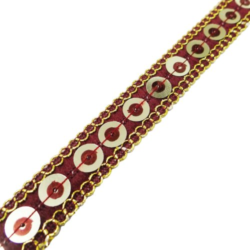 Handcrafted Maroon Fabric Sequins Trim Designer Sewing Dress Lace Tape By The Yard