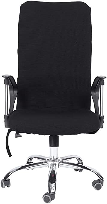 Fdit Modern Simplism Style Chair Covers Polyester Removable Stretch Swivel Chair Covers Office Armchair Comfortable Seat Slipcovers Office Computer Stretchable Rotating Chair Cover (Black-M)
