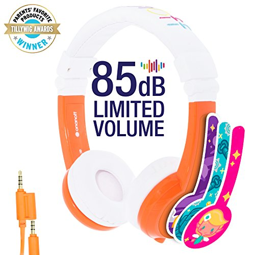 Explore Foldable Volume Limiting Kids Headphones - Durable, Comfortable & Customizable - Built in Headphone Splitter and In Line Mic - For iPad, Kindle, Computers and Tablets - Orange