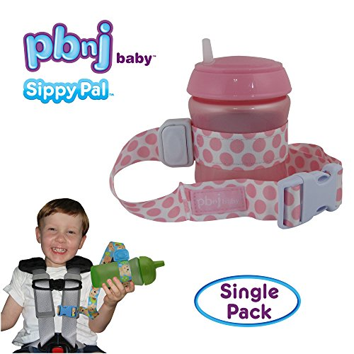 PBnJ Baby SippyPal Sippy Cup Strap Holder Leash Tether (1 Pink Dot)