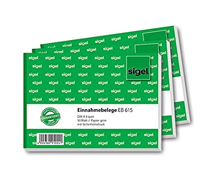 Sigel eb615blocchetto di ricevute formato A6orizzontale, 50fogli 10 pezzi Sigel GmbH