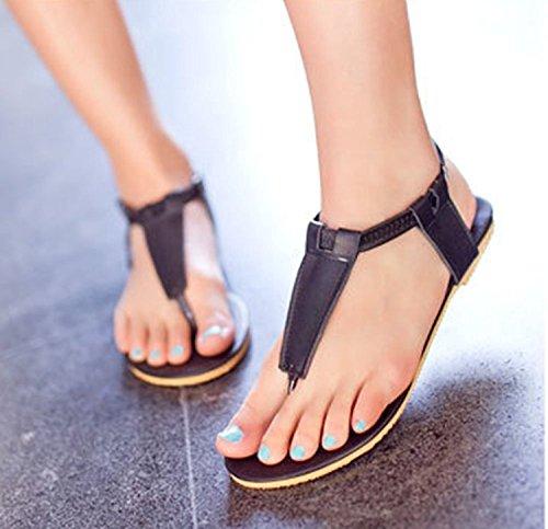 Bdawin Mujer Chanclas Zapatos Planas Flip Flop Correa T Elástico Tobillo Correa Gladiador Sandalias Negro
