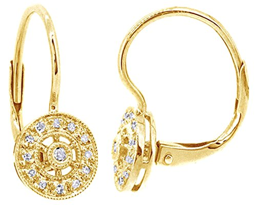 Round Cut White Natural Diamond Dangle Earrings In 14K Solid Yellow Gold (0.08 Ct) ()