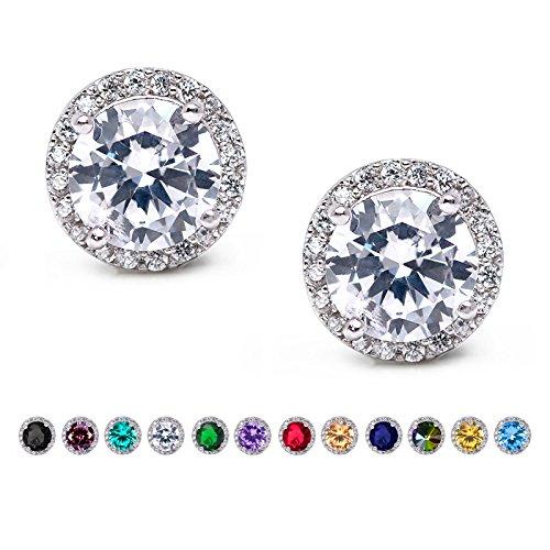 SWEETV Cubic Zirconia Stud Earrings, 10mm Round Cut, Rhinestone Hypoallergenic Earrings for Women & Girls, Clear (Earring Rhinestone Round)