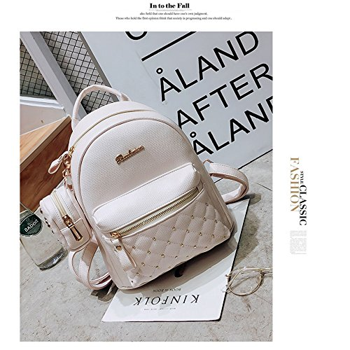 SODIAL Teenage Backpack Small Women's White Women's Bags for School Lady Backpacks PU Retro Leather white Bag Bag rvpgrq