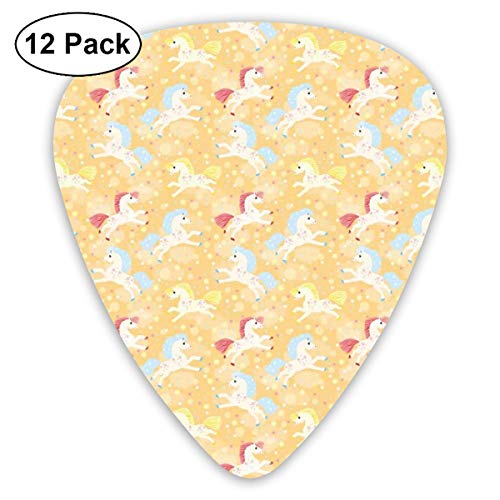 (Guitar Picks 12-Pack,Nursery Boys Girls Unicorns With Abstract Stars Pale Salmon Background Image Print)