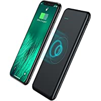 Qi Wireless Power Bank 10000mAh iPhone X Wireless Battery Charger,TOVAOON Portable Charger Output 5V2A External Battery Pack for iPhone 8/8 Plus,Samaung S7 S8,Note 7 8