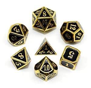 HD Dice DND Mini Metal Dice Set for Dungeons and Dragons(D&D) RPG Pathfinder MTG Role Playing Game Polyhedral Dice Black Enamel Dice with Gold Border