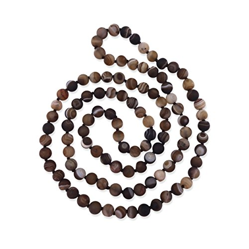 MGR MY GEMS ROCK! 36 Inch 8MM Matte Finish Semi-Precious Genuine Brown Striped Agate Long Endless Infinity Beaded Strand ()