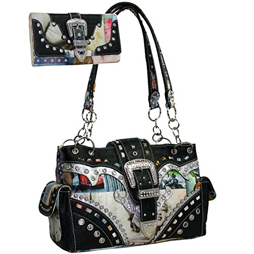Western Rhinestone Buckle Accent Purse Handbag With Matching Wallet - Multi Color