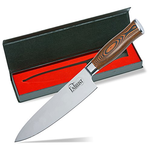 Premium 8 inch Chef Knife by EnTrust Gourmet, Razor Sharp, Ergonomic Double Forged Pakka Wood Handle, Stainless Steel, Anti-Rust, Strong, Durable, Multi Purpose for Home or Restaurant Use, Gift Box