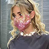 Evild Sparkly Mesh Sequins Mouth Cover Glitter Face Mask Masquerade Ball Party Mardi Gras Jewelry for Women and Girl (Pink) (Color: Pink, Tamaño: Free size)