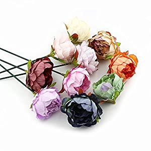Peony flower Fake Flower Heads for Crafts Bulk Head Silk Artificial Flowers Party Home Decor Wedding Decoration DIY Decorative Wreath Fake Flowers Festival Decor 15 Pieces 5cm (Beige) 5