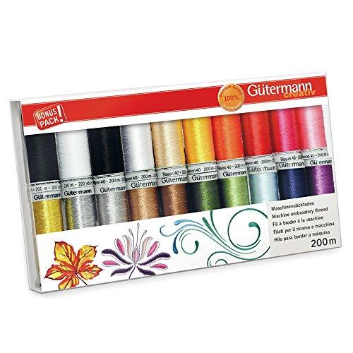 Gutermann Rayon 40 Colourful Machine Embroidery Thread Set 20 x 200m Reels by Gutermann