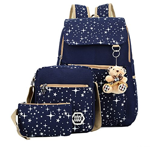 Veenajo Girls Lightweight Canvas Backpack Set Cute Patterned Bookbag Shoulder Bag School Backpacks (Navy Blue) (Collection Computer Zippered Flap)