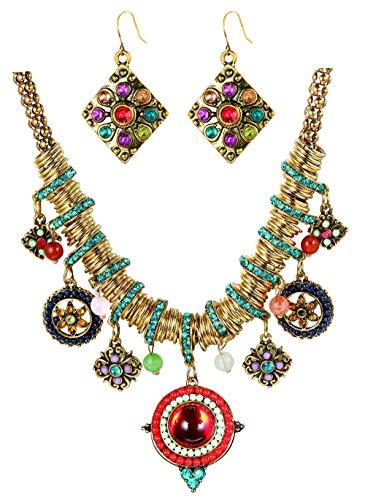Finrezio Bohemian Necklace and Dangle Earrings Set for Women Enamel Multicolor Round Pendants Vintage Rhinestone Ethnic Necklace