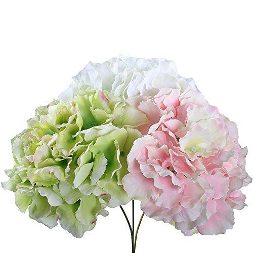 Gtidea 3pcs Artificial Hydrangea Silk flowers Bouquets Arrangements Bridal Home DIY Garden Office Wedding Decor Mix - Bouquet Arrangement