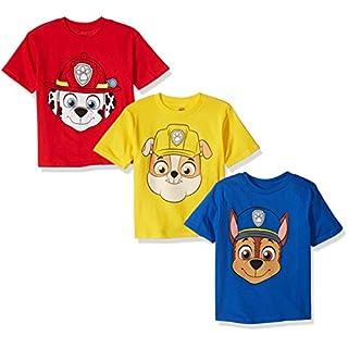 Nickelodeon Boys' Toddler Paw Patrol Pack of Three T-Shirts, Royal/Red/Yellow, 3T