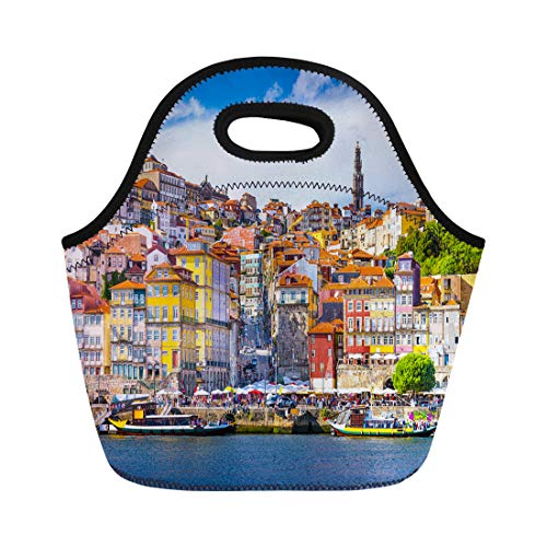 - Semtomn Neoprene Lunch Tote Bag Porto Portugal Old Town Skyline From Across the Douro Reusable Cooler Bags Insulated Thermal Picnic Handbag for Travel,School,Outdoors,Work