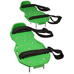 Sharkk Basics Lawn Aerator Shoes w/ Metal Buckles and 3 Straps - Heavy Duty Spiked Sandals for Aerating Your Lawn or Yard