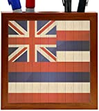 Rikki Knight Hawaii Flag on Distressed Wood Design 5-Inch Wooden Tile Pen Holder (RK-PH8624)