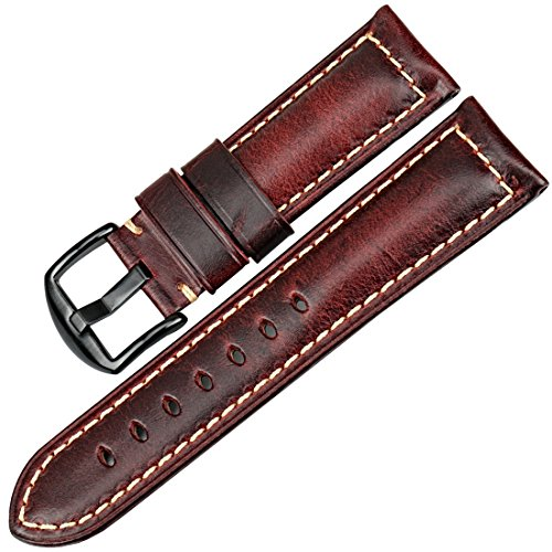 Watch 5 Vintage (MAIKES Vintage Oil Wax Leather Strap Watch Band 5 Colors Available 20mm 22mm 24mm 26mm Watchband Greasedleather Wristband (Band Width 20mm, Red+Black Clasp))