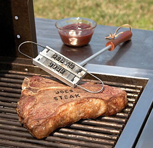 (WAJJ BBQ Branding Iron with Changeable Letters Creative Barbecue Steak Names Press Tool for Grilling Outdoor)