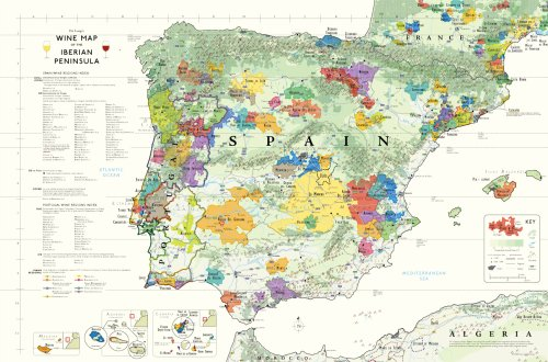Wine Map of The Iberian Peninsula (Spain and Portugal) by Steve De Long, Mark De Long